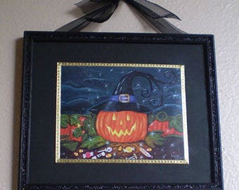 Halloween painting framed print original art wall hanging spooky home decor Jack o Lantern decoration Autumn Fall