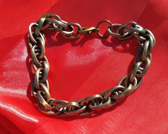 Bronze And Pewter Chain Link Bracelet Chain Maille Chain Mail Bracelet Unisex Bracelet Gift Idea Men Women Teen