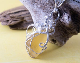 Wire Wrapped Yellow Sea Glass Necklace