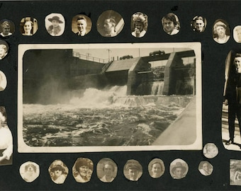 vintage photo 1915 Photo Album page Many Many little heads around the dam