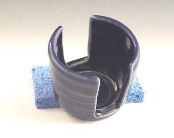 Ceramic Sponge Holder - Stoneware Sponge Drying Bowl - Kitchen Accessory - Paper Napkin Caddy - Royal Cobalt Blue - Ready to Ship  h463