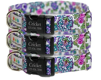 Personalized Floral Dog Collar, Engraved purple floral Collar - Flowerista (Shown with buckle engraving)