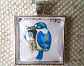 Forest kingfisher bird stamp 15c necklace / upcycled Australian stamp pendant / silver plated with 24 inch chain / bird necklace jewelry
