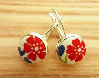 Cute Liberty of London fabric button earrings / silvertone settings / leverback earrings / red and blue floral fabric earrings / 14mm across