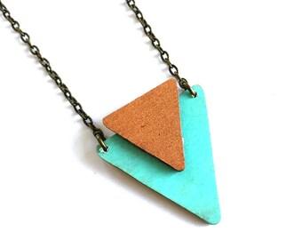 CLOSING DOWN SALE Turquoise Mint copper Geometric Arrow Pendant Necklace
