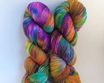 "Hand dyed sparkly sock yarn - colorway ""Sari"" - in stock, ready to ship"