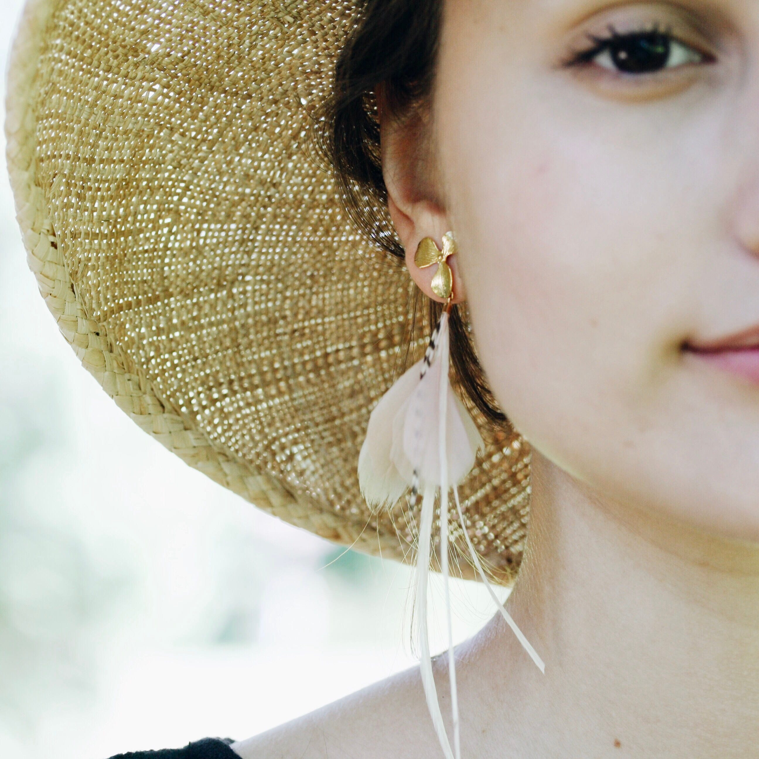 Feather Earrings. Gold Flower Stud Blush Pink and White Natural ...