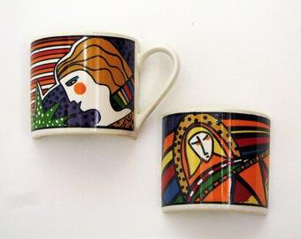 Vintage Mosaic Tiles Metropolitan Artsy Art Deco Set of Half Cups Vitromaster Faces People Broken China