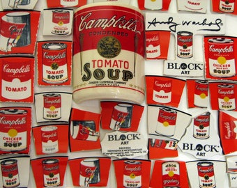 Mosaic Tiles Campbells Artsy Andy Warhol Block Soup Can Labels with Half Cup Red White Broken China Plate Tessarae