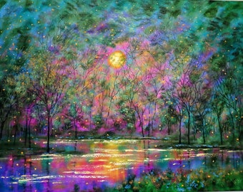 Original painting impressionist -Sunset stream and fireflies
