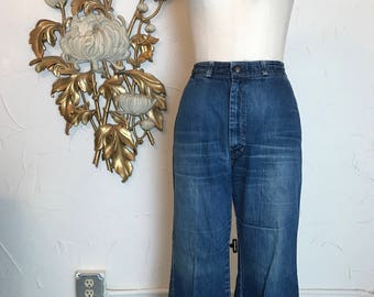 1970s jeans distressed jeans high waist jeans size 29 fancy props jeans straight leg jeans mom jeans bohemian jeans