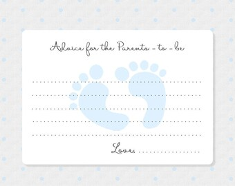 50 Baby Boy Advice Cards - Advice and Wishes Cards - New Parents Advice Cards - Baby Footprint