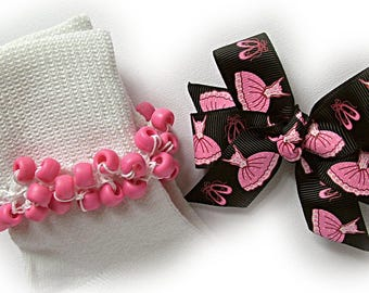 Kathy's Beaded Socks- Ballerina on Black Socks and Hair Bow, hot pink socks, school socks, pink socks, black socks, ballerina socks