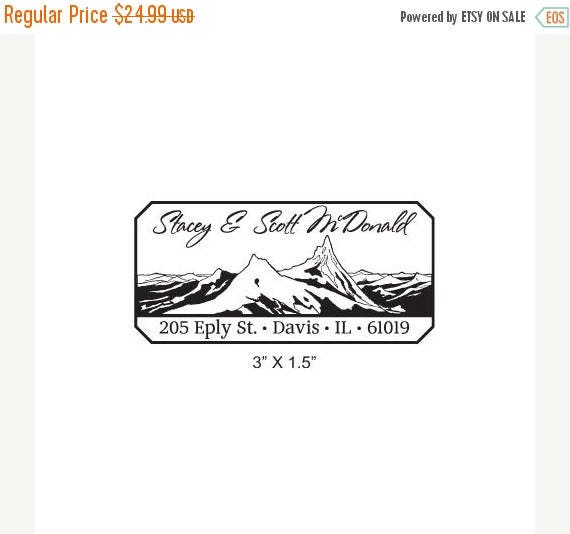 Xmas in July Mountains With Handwritten Style Script Custom Return Address Rubber Stamp AD260