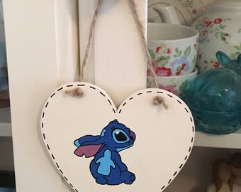 Stitch Hand Painted Wooden Hanging Heart - lilo & stitch