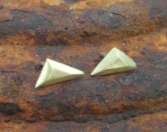 Scalene Triangle studs, brass and sterling silver