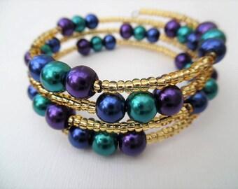 Peacock Colour Bracelet, Mothers Day Gift, Purple Teal Blue, Wrap Bracelet, One Size Bracelet, Pearl Bracelet, Peacock Wedding Theme Jewelry