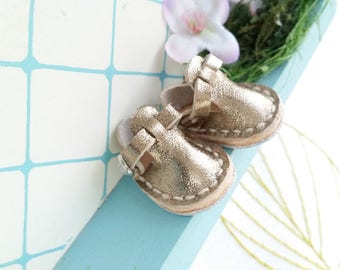 Mini Silver Leather T-Strap Shoes For Azone Pure Neemo M Size And Pukifee Lati Yellow Neo Blythe Doll Hand Made By MizuSGarden