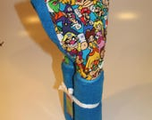 Mario Brothers on blue hooded towel
