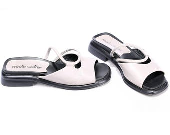 Women Us 6 Grey Mules Sandals 90s Low Heel Slingback Slip On Sandals Real Leather Sliders Summer Shoes Open Toe  Low Heels Uk 3.5 Eur 36