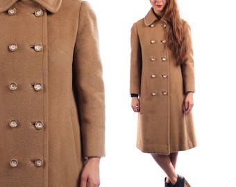 Retro Wool Coat 60s Vintage Beige CAMEL Hair Women Winter Wool Double Breasted Pea Coat Mod Twiggy Outerwear Princess Coat Medium