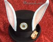 READY TO SHIP Steampunk Mad Tea Party Top Hat... Alice leather clockwork rabbit ears dormouse halloween mardi gras burning man costume