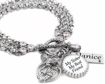 Personalized Sister Bracelet with Sisters Name, Sisters Birthstone, Little Sister, Big Sister, Middle Sister, handcrafted in stainless steel