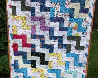 Soft and Snuggly Flannel Zig-Zag Baby Quilt