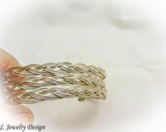 Silver and Copper Braided Bracelet