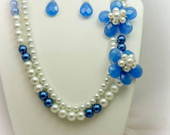 Double Strand Flower Statement Necklace