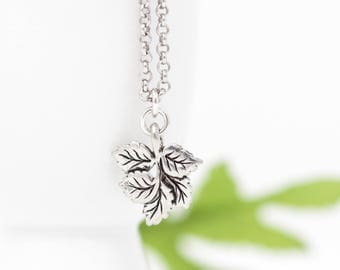 Silver Leaf Necklace - Leaf Charm - Sterling Silver Chain - Woodland Jewelry - Woodland Necklace - Leaf Jewelry - Gift For Her