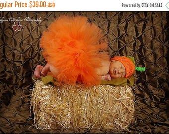 SUMMER SALE 20% OFF Pumpkin Tutu - Ready To Ship - My First Pumpkin Costume - Orange Infant Tutu & Hat Set - Sewn 6'' Infant Toddler Tutu w/