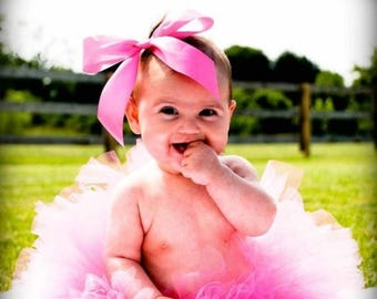 SUMMER SALE 20% OFF Pink Baby Tutu - Hot Pink Tutu - Sewn Infant Tutu - Ready To Ship - sizes newborn up to 12 months - Photo Prop