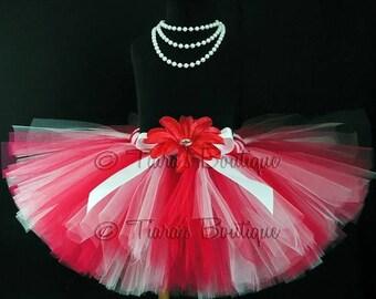 SUMMER SALE 20% OFF Valentine's Day Tutu - Birthday Tutu - red white tutu - Custom Sewn 8'' Tutu - sizes Newborn to 5T - Baby Tutu - Photo P