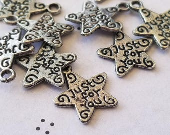 Antiqued silver star just for you charms (12)