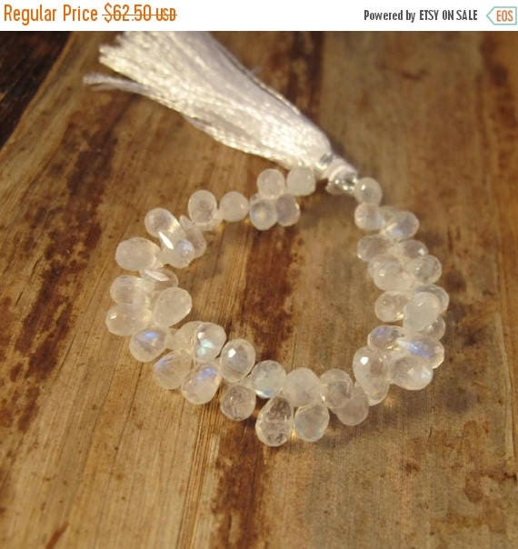 Summer SALEabration - Rainbow Moonstone Beads, Faceted Briolettes, Natural Gemstone, 7x4mm, 4 Inch Strand, Over 48 Moonstone Teardrops (B-Mo