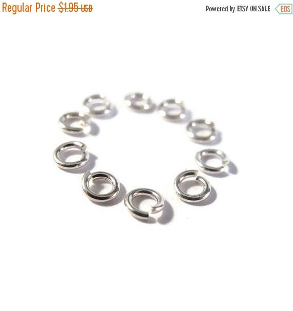 Summer SALEabration - 4mm Open Rings, 10 Hard Snap .925 Sterling Silver Jump Rings, 20 Gauge, Jewelry Findings, Connectors, Strong, Small Ri