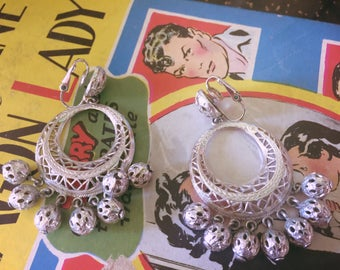 Vintage 1950s earrings silver hoop dangle chandeliers 50s Swing Rockabilly pinup jewelry