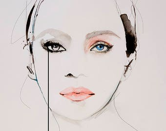 Found  - Fashion Illustration Art Print, Woman, Portrait, Mix Media Painting by Leigh Viner