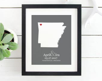 State Map Art, Personalized Arkansas State Map, New Couple Engagement Gift, Gift Under 25, First Anniversary, Gift New Home -  Art Print
