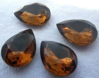 SALE 30% Off Smoky Topaz Vintage 18X13mm Pear Glass Gems Foiled 4 Pcs