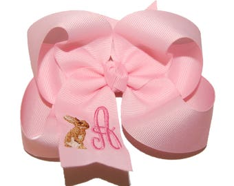 Personalized Easter Bow - Easter Headband - Baby Headband - Custom Embroidered Bow - Baby Bow - Toddler Bow - Your Choice of Color