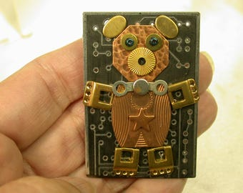 RECYCLED CIRCUIT BOARD Geekery Jewelry Bear Pin CB235