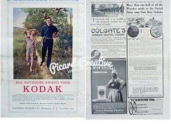 "1910 Kodak Camera Ad & Colgate, Gold Medal Flour, Watch, Bike Ads 2 Sided LARGE 11 1/4"" x 16 1/4"""