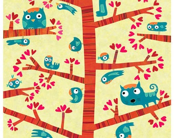 Poster, blue birds, Blue Cat Z019