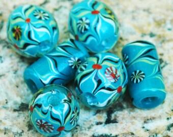 Unique Turquoise Blue Kaleidoscope Lampwork Glass Beads ~ Mixed set of 6