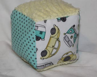 Small VW Bugs and Buses Fabric Block Rattle