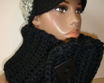 Black Cowl Scarf Crocheted - Black Neckwarmer - Scarf- Cowl- matching hat- Black MultiScarf - Black Crochet Hat