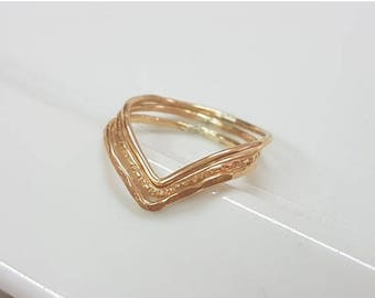 SALE - Gold chevron stacking ring set of 3, gold v shaped ring minimalist gold filled rings