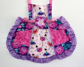 Ballerina Apron, girls apron, toddler apron